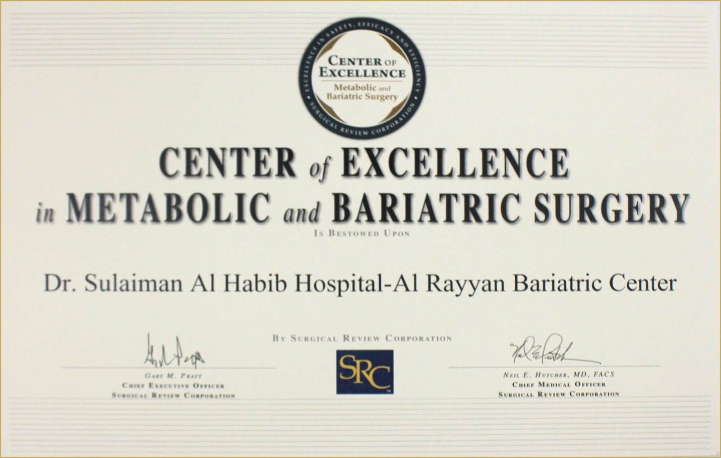 HMG's Obesity Treatments Centers has been solely accredited as the first Specialized Centers of Excellence in the Region by The (SRC) American Institution